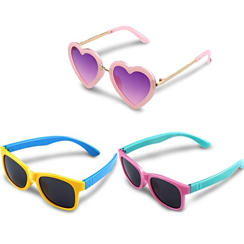 Blulu 3 Paare Kinder Gummi Elastisch Geformt Sonnenbrille und Herz Geformt Sonnenbrille für Kleinkinder Jungen und Mädchen, Sport Sonnenbrillen für Sommer Partei