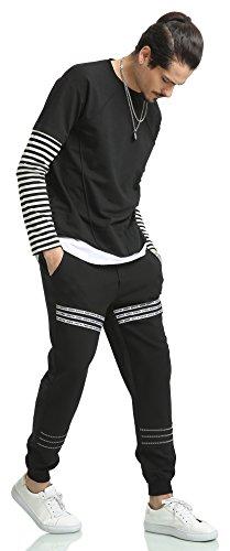 Pizoff Unisex Hip Hop Fake Two-Pieces Design Kapuzenpullover mit halbem Reißverschluss und Druckmuster AH027-Black