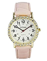 Ladies Gold Plated Pink PU Leather Strap Japanese Movement Analogue Wrist Watch With One Extra Battery