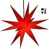 Guru-Shop Stabiler Wetterfester 3D Weihnachtsstern, Außenstern, Steckstern für Garten & Balkon Ø 60 cm, mit 20 Spitzen, Inkl. 4 m Außenkabel - Hartplastik Rot, Weihnachtsstern, Adventsstern