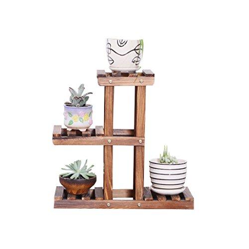 Soporte para Plantas Macetas con Estante Soporte de plantas de madera maciza, plantas en macetas pequeñas...