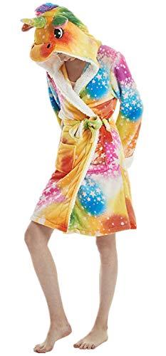 Erwachsenen Tier Cartoon Einhorn Panda Flusspferd Bademantel Flanell Fleece Kapuze Halloween Weihnachten Karneval Cosplay Robe (Unicorn Rainbow Star, L für Höhe 165cm-175cm) (Miss Rainbow Kostüm)