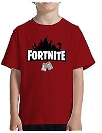 Acokaia Camiseta de Niño Fortnite Color Rojo