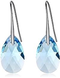GoSparking color aguamarina cristal azul en forma de pera de 18K oro blanco plateó los pendientes de la aleación con el cristal austriaco para las mujeres