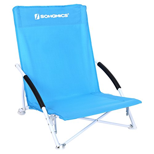 Songmics sedia spiaggina pieghevole portatile sedia sdraio da campeggio spiaggia richiudibile con borsa gcb61s
