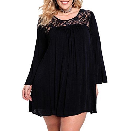 Sasairy Grande Taille Robe Courte avec Dentelle Femme Sexy Robe à Manche Longue Tunique,Noir