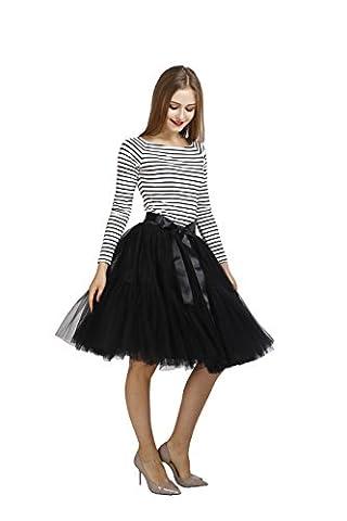 Petticoat,Colleer Women's Tutu Skirts 7 Layers Midi Tulle Underskirt with