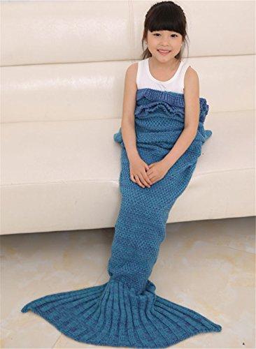 Hengsong Gestrickte Meerjungfrau Schwanz Decke warme weiche Schlafsack Geburtstag Weihnachtsgeschenk für Kinder 55.12*27.56inch (Blau)