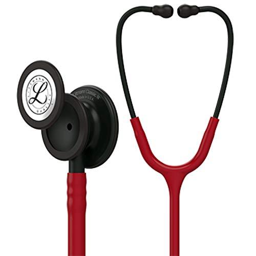 3M Littmann M5868 Classic III Stethoskop, Black-Edition-Bruststück, burgunderroter Schlauch, 69cm -