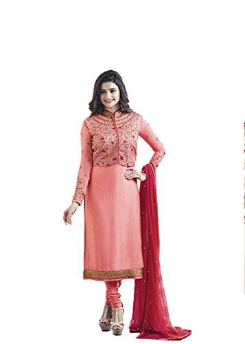 Designer Desk Crepe Silk Pink color Party wear Salwar Suit With Koti...