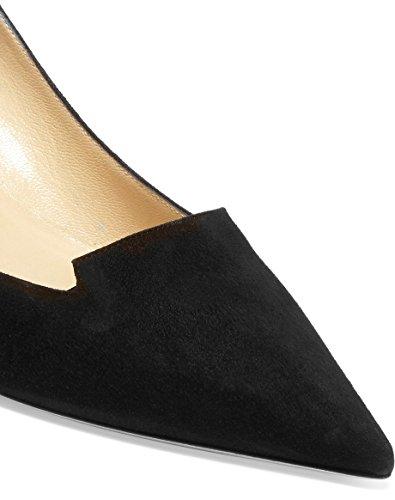 uBeauty Femmes A Enfiler Pointues Toe Stilettos Escarpins Quotidiennement des Chaussures Grande Taille noir b