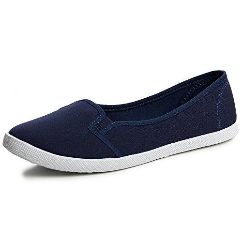 Topschuhe24 484 femme ballerine loafer, mocassins femme Bleu - Bleu foncé
