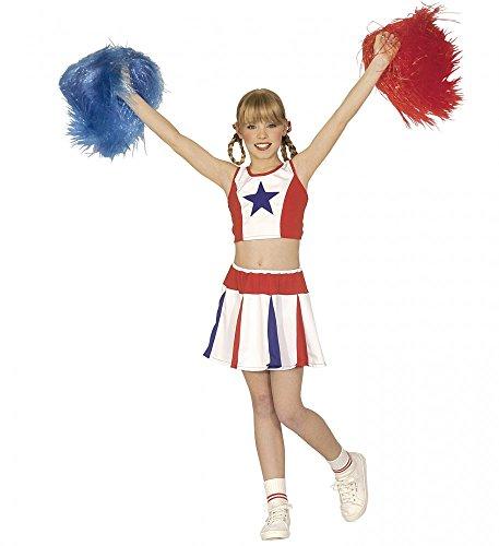 shoperama Cheerleader Kinderkostüm für Mädchen Rot/Weiß/Blau mit Stern Shirt Rock Kostüm, Kindergröße:158 - 11 bis 13 Jahre