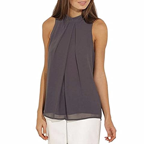 QIYUN.Z Women Casual Solid Color Chiffon Top Shirts Pleated Sleeveless Mock Neck Corp Tops Blouse