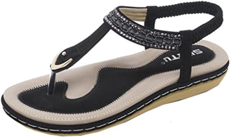 lolittas intelligent diamante tongs string sandales pour femmes, la Noir plage Noir la  wedge slim personnalisé bohème... dcbc9f