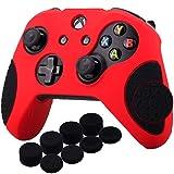 YoRHa Espesado Caucho de Silicona Funda Skin Case Carcasas Piel Agarre de Masaje con letras 3D para Xbox One S / X Mando Controller x 1 (Rojo&Negro) Con Agarres para el Pulgar x 8
