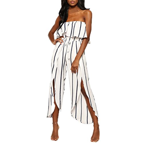 Women Jumpsuits HEHEM Fashion Women Off The Shoulder Reffle Striped Playsuit Party Clubwear Jumpsuit Casual Strap Jumpsuit Sexy Off Shoulder Formal Casual Romper with BeltSolid
