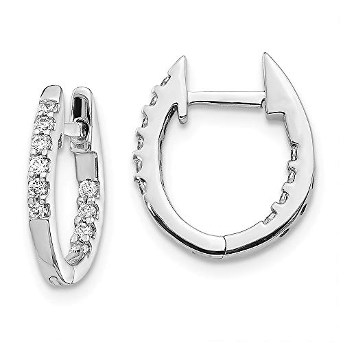 14K White Gold Inside/Out Diamond Hinged Hoop Earrings (Diamond Hoop Ohrringe-inside Out)