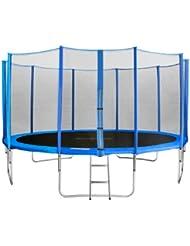 SixBros. Sixjump 4,30 M Trampoline de jardin bleu Certifié par Intertek / GS - Filet de sécurité - Échelle - Housse de protection - CST430/L1766