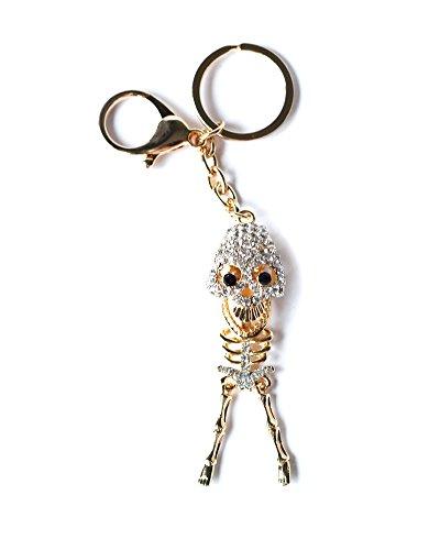 Colore oro strass scheletro portachiavi di cristallo di fascino della borsa del pendente dell'anello del sacchetto della catena chiave del regalo nuova collezione 2016