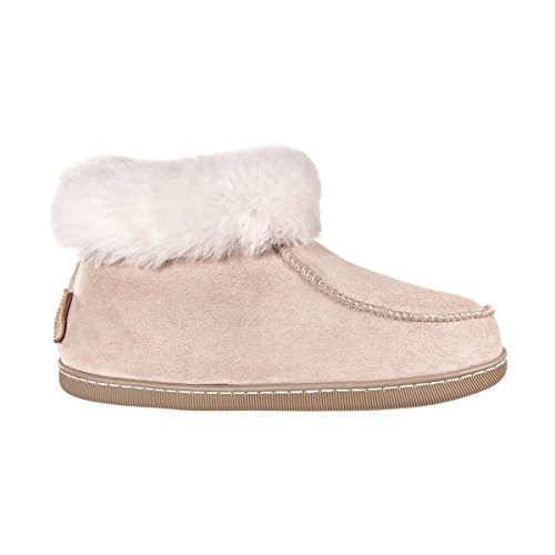 Vanuba peppin - pantofole da donna artigianali, in pelle naturale, lana di pecora al 100%, scarpe da casa calde e confortevoli (36 eu, beige/bianco (white))