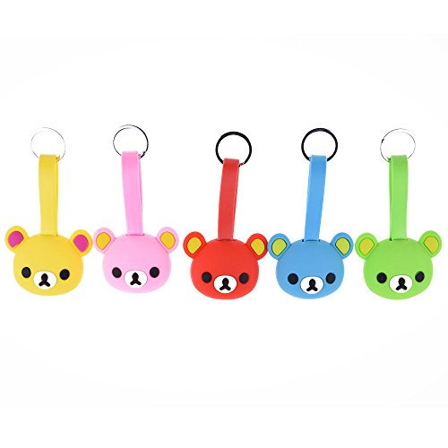 Belons lovely Bear silicone Key Chain 2-in-1 Lightning e micro USB di ricarica e cavo dati cavo di sincronizzazione per iPhone e dispositivi Android Di stile Yellow Multi-5 Pack