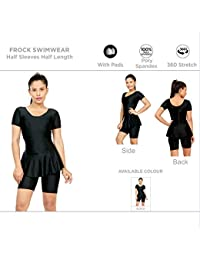 6a1ceaca89036 Champ Women s Poly Spandex Freestyle Padded Swimwear Frock Style with Half  Sleeves and Legs