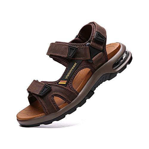 Männer Leder Mode (visionreast Herren Outdoor Sports Sandalen Trekking Leichte Leder Strand Wandersandalen Männer Sommer Klettverschluss Offroad Sandale Schuhe Waterproof, Dunkelbraun1, 42 EU)