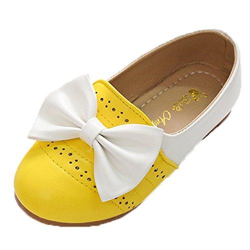 Ohmais Enfants Filles Chaussure cérémonie Ballerines à bride Fête Demoiselle d'honneur Mariage Escarpin plat Babies Jaune