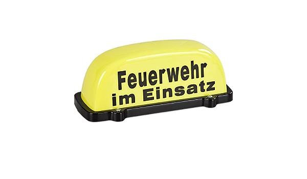Paco Dachaufsetzer Feuerwehr Im Einsatz TÜv Geprüft Bis 130km H Dachschild Gelb Mit Schwarzer Schrift Auto