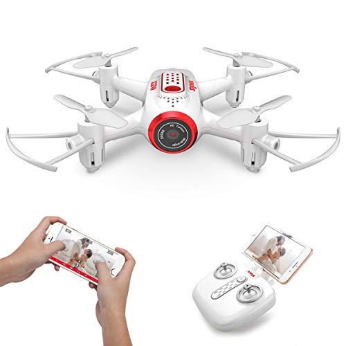 Mini micro Drone con Camara Syma X22W Rc Cuadricoptero para niños con luces LED, Wifi FPV, Modo sin cabeza, Plan de vuelo, Control de APP, Giroscopio de 360 grados, retención de altitud(Blanco)