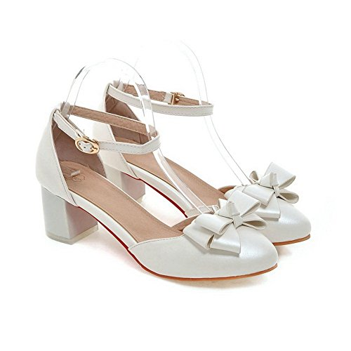 Adee nœuds pour femme Style Roman polyuréthane Pompes Chaussures Blanc - blanc