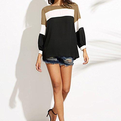Dihope Femme Printemps Automne Top à Manches Longues Col Rond Tee-shirt Casual Haut Top Loisir Mode Marron Clair