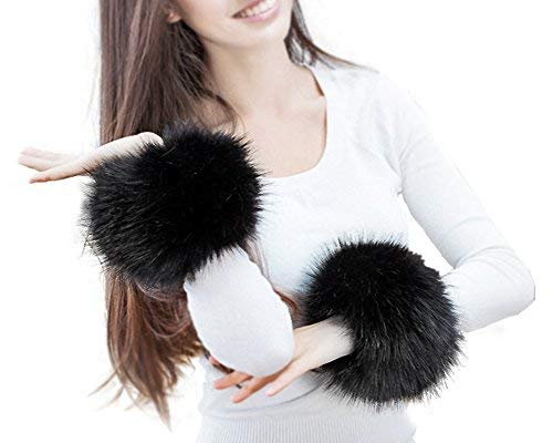 Fell Stulpen Pulswärmer Faux Pelz Armstulpen Faux Fur Wrist Band Ring Cuffs Wärmer für Frauen (Schwarz)