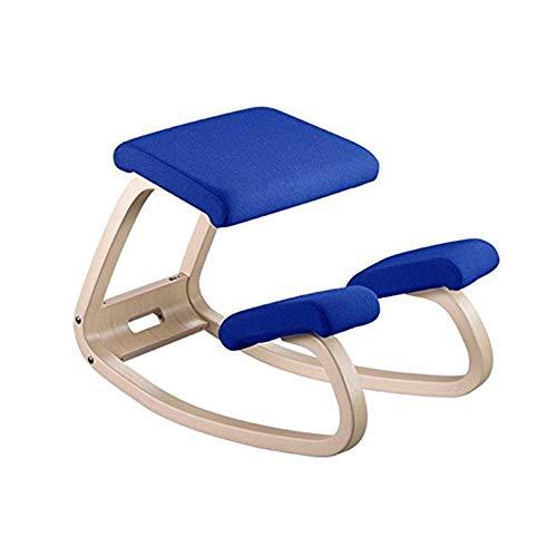 LXDDB Ergonomischer Balancing Kniestuhl |Schaukelhaltung Holzhocker |für Home Office & Schreibtischstuhl |Großer Sitz, Dicke Kniepolster, blau