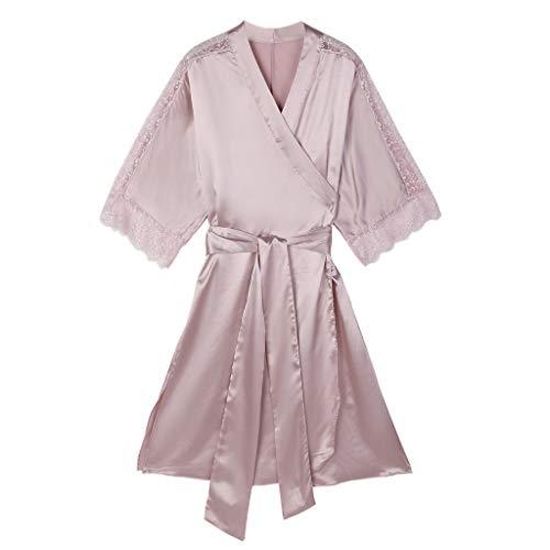 Dtuta Nachthemden SchlafanzüGe Damen Satin Simulation Seidenspitze Perspektive Leichte Bequeme Pyjamas Lange Sexy Riemchen Bademantel