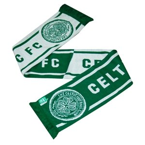Celtic FC Football Club Half Green Half White Knitted Scarf Badge Fan Official