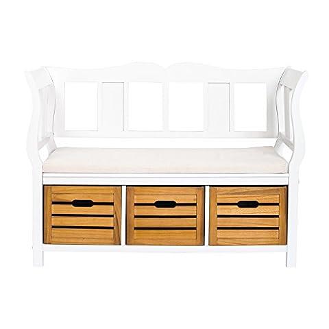 Rebecca Srl Bench Storage Unit 3 Drawers 1 Padded Seat