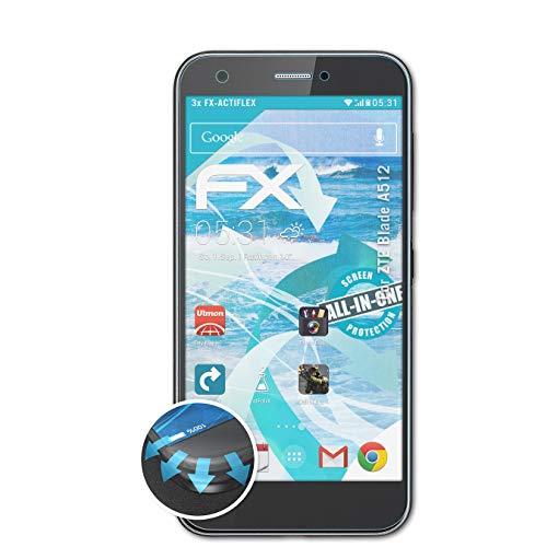 atFolix Schutzfolie passend für ZTE Blade A512 Folie, ultraklare & Flexible FX Bildschirmschutzfolie (3X)