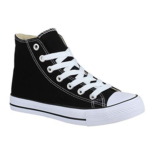 Elara Unisex Sneaker Sportschuhe für Herren Damen High Top Turnschuh Textil Chunkyrayan 85-109-B-Schwarz-36
