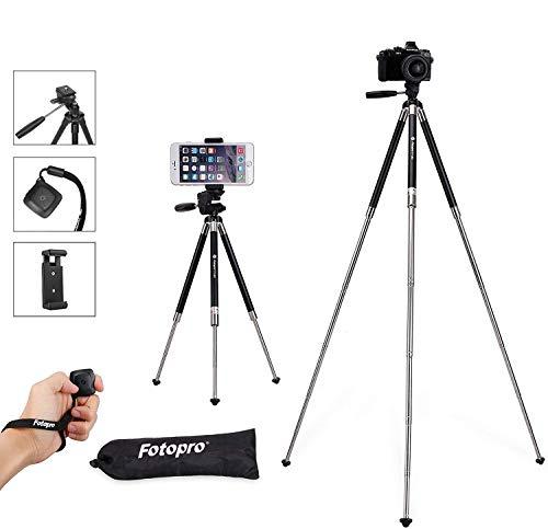Fotopro treppiedi fotocamera, treppiede reflex cavalletto video da 39,5 Pollici in Alluminio per Camera + Controllo Remoto con Bluetooth + Clip per il Supporto Smartphone + Borsa Treppiede