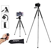 Fotopro Travel Tripod, 39.5 Inches Lightweight Compact Phone Tripod with Smartphone Holder & Bluetooth Control in 3-Way Swivel Pan Head