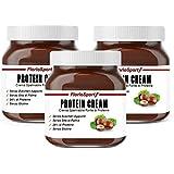 FlorioSport, Protein Cream, 3x400 g Crema Spalmabile Proteica al 24% di Proteine. Nocciola e Cacao. Senza Zuccheri Aggiunti