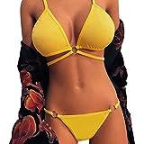 Sasstaids Sexy Lingerie Donna,Cinghie Biancheria Sexy Signora Halter, Reggiseno a Gabbia Elasticizzata con Reggiseno a Gabbia con Cinture e Allettanti,Reggiseni Sexy Donna Hot Giallo M
