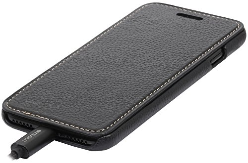 StilGut Book Type Case, Hülle Leder-Tasche für iPhone 8 & iPhone 7. Seitlich klappbares Flip-Case aus Echtleder für das Original iPhone 8 & iPhone 7 (4,7 Zoll), Rot Nappa Schwarz