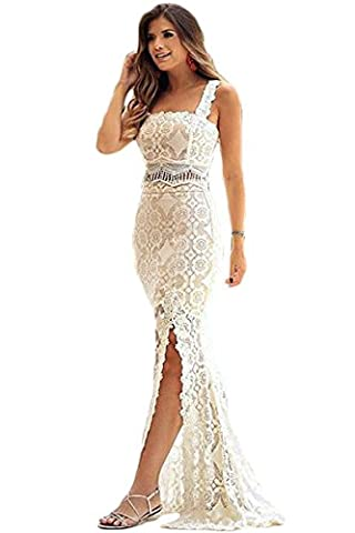 New Ladies 2 Piece White & Nude Flower Lace Maxi