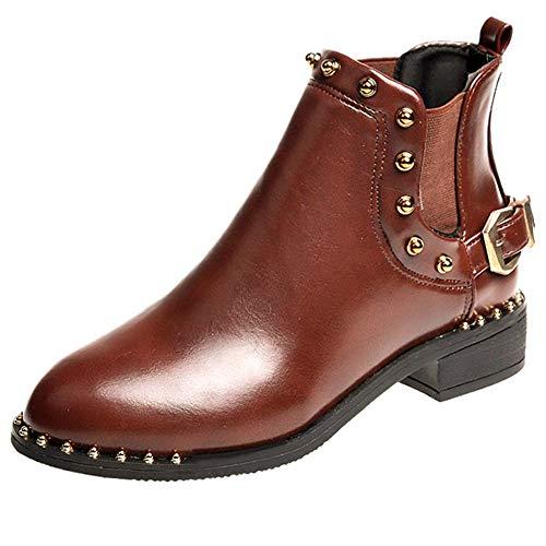 LuckyGirls Botas para Mujer Remaches y Hebilla Botines Zapatos Planos Impermeable Nieve...