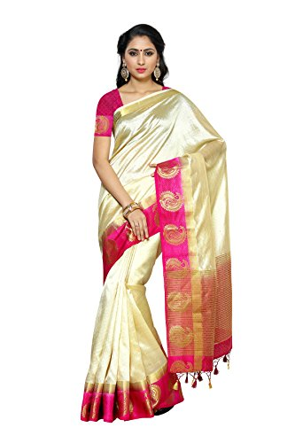 Mimosa Women's Tussar Silk Saree With Blouse Piece (2061-2D-Hwt-Rni_Off White)
