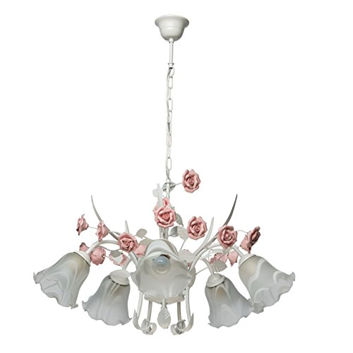 Deckenleuchte Metall weiß Farbe rosa Florentiner art deco Porzellan weiß