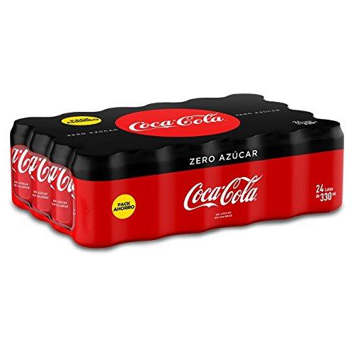 Coca-Cola - Zero, Refresco con gas de cola, 330 ml (Pack de 24), Lata